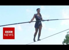 French woman in Montmartre tightrope walk – BBC News